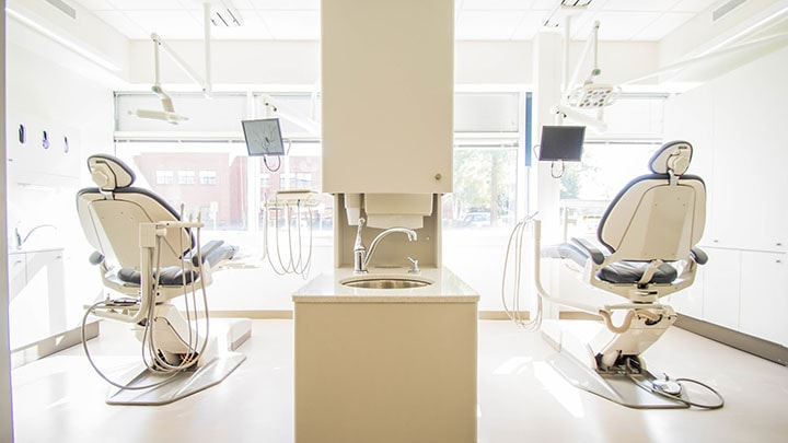 View of a dental operatory with two chairs