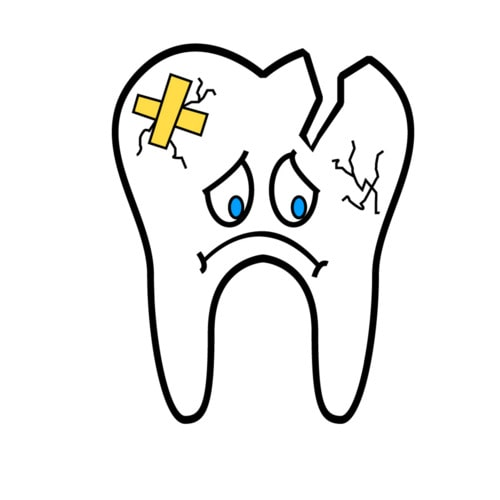 An icon of a sad broken or chipped tooth